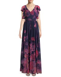 David Meister Floral Chiffon Dress W Ruffle Trim Pink