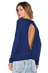 Chaser Thermal Open Back Long Sleeve Pullover Blue
