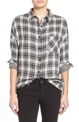 Paper Crane Double Face Plaid Shirt Black White
