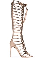 Casadei Gladiator Stiletto Sandals Women Leather 37 Metallic