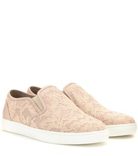 Dolce And Gabbana Lace Slip On Sneakers Pink