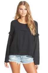 Junior Women's Volcom 'Lost Highway' Fringe Long Sleeve Top