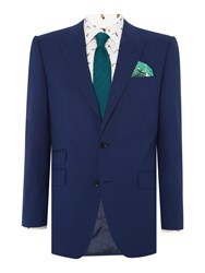 New And Lingwood Barberry Sb2 Dogtooth Check Suit Jacket Blue
