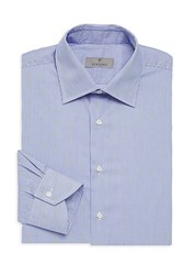 Canali Narrow Bangle Stripe Cotton Dress Shirt Blue
