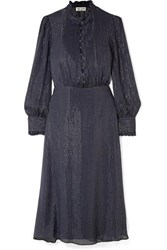 Paul And Joe Ruffle Trimmed Metallic Striped Silk Blend Chiffon Midi Dress Navy