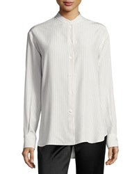 Victoria Beckham Striped Band Collar Blouse Off White