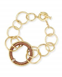 Vendorafa 18K Gold And Wooden Circle Link Necklace With Diamonds