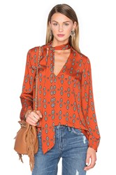 House Of Harlow X Revolve Naomi Tie Neck Blouse Rust