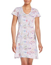 Lord And Taylor Printed V Neck Nightgown Paisley White
