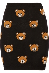 Moschino Bear Intarsia Wool Mini Skirt