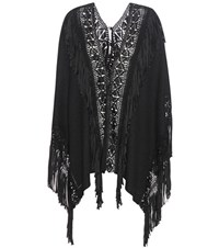 Ralph Lauren Fringed Silk Poncho Black