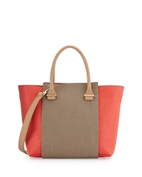 Neiman Marcus Amelia Faux Leather Colorblock Tote Bag Coral Taupe