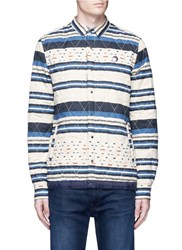 Scotch And Soda 'Nordic' Stripe Quilted Shirt Jacket Multi Colour