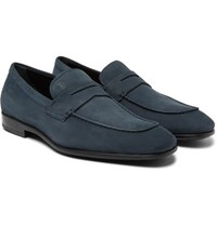 Tod's Gommino Nubuck Penny Loafers Navy