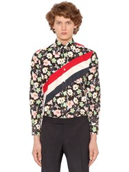 Thom Browne Stripes And Floral Printed Poplin Shirt