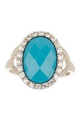 Savvy Cie Simulated Turquoise And White Cz Oval Ring Blue