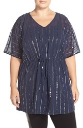 Plus Size Women's Junarose 'Jess' Sequin Stripe Tunic