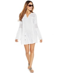 Raviya Crochet Accent Tunic Cover Up Women's Swimsuit White