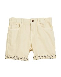Mayoral Cotton Blend Shorts W Safari Print Cuffs Beige