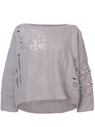 Ryan Roche Open Weave A Line Pullover Grey