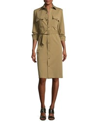 Ralph Lauren Bi Stretch Cotton Gabardine Shirtdress Green