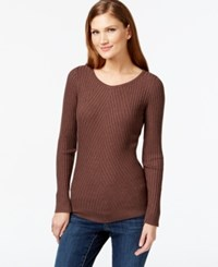 Inc International Concepts Ribbed Crew Neck Sweater Only At Macy's Heather Brownie