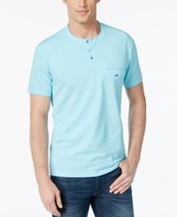 Alfani Big And Tall Pierre Pique Henley T Shirt Sea Coast