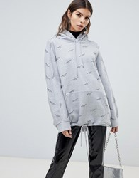 Miss Sixty All Over Print Hoodie With Drawstring Detail Grey