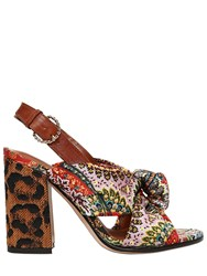 Etro 95Mm Paisley Satin And Raffia Heel Sandals Multicolor