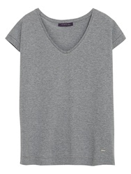 Violeta By Mango Metallic Flecks T Shirt Grey