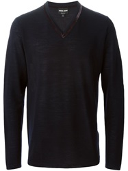 Giorgio Armani Velvet Trim V Neck Sweater Blue