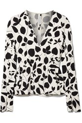 Narciso Rodriguez Printed Stretch Silk Crepe Top White