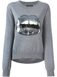 Markus Lupfer Sequinned Lips Applique Sweater Grey