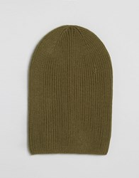 Asos Slouchy Beanie In Olive Olive Green