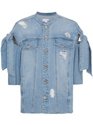 Sjyp Distressed Ribbon Sleeve Denim Jacket Cotton Blue