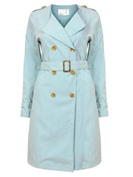 Lavand Casual Trench With Button Fastening Blue