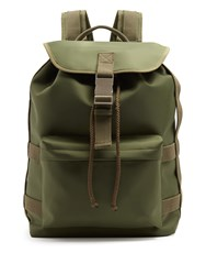 A.P.C. Canvas Trimmed Nylon Backpack Khaki