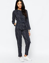 Mih Jeans Mih Elson Jumpsuit In Blue Print Navy Cream