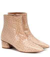 Loq Matea Patent Leather Ankle Boots Beige