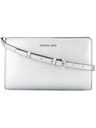 Michael Michael Kors Large 'Jet Set Travel' Crossbody Bag Metallic