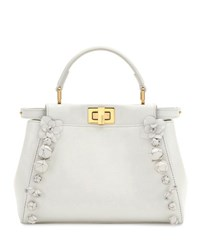 Fendi Mini Peekaboo Floral Embellished Satchel Bag White