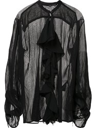 Isabel Benenato Sheer Ruffle Blouse Black