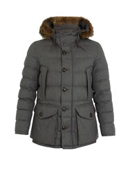 Moncler Rethel Fur Trimmed Quilted Down Wool Coat Grey