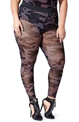 Mblm By Tess Holliday Plus Size Women's Holiday Camo Sheer Mesh Leggings