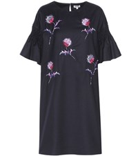 Kenzo Dandelion Embroidered And Smocked Wool Dress Blue