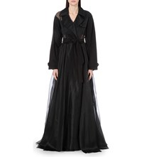Yang Li Sheer Panel Silk Organza Trench Coat Black
