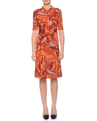 Bottega Veneta Shirred Waist Tie Neck Shirtdress Arizona Orange Russe