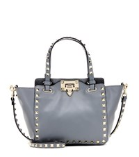 Valentino Rockstud Leather Tote Grey
