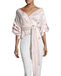 Alexis Armelle Off The Shoulder Striped Shirt Multipattern Multi Pattern