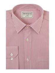 Howick Federal Twin Stripe Single Cuff Shirt With Pocket Red